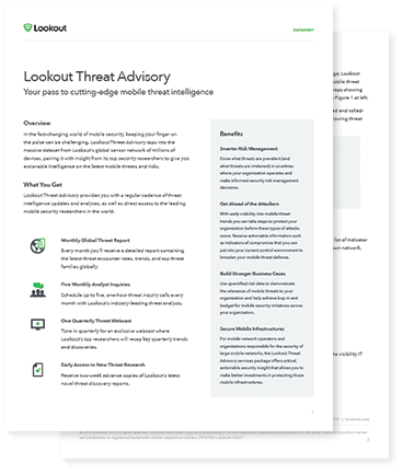 Lookout Threat Advisory Datasheet