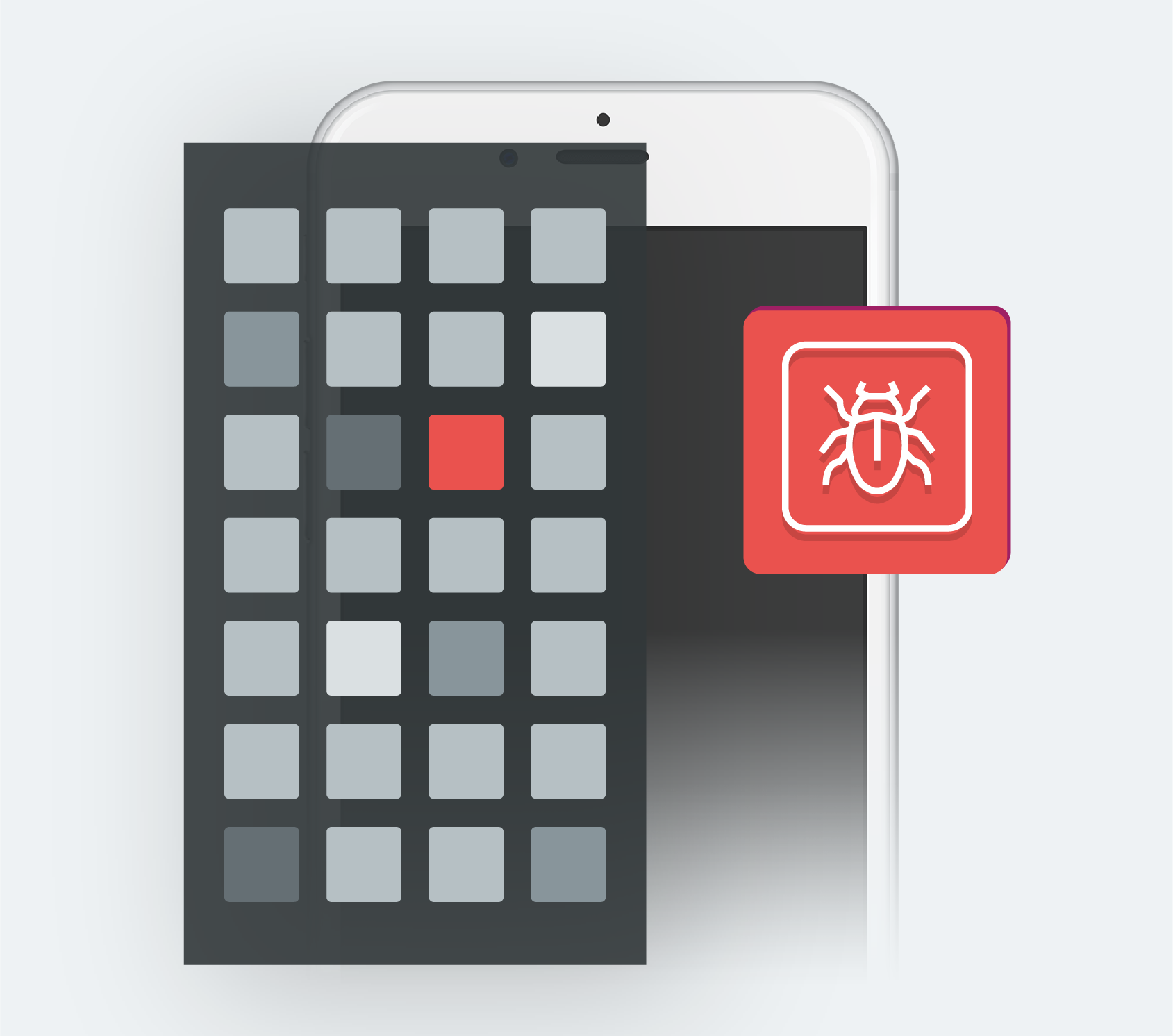 phone and bug icon